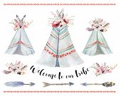 Handdrawn watercolor tribal teepee isolated white campsite tent. Boho America traditional native ornament. Indian tee-pee with arrows and feathers poster