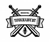 Medieval tournament fight sport vector logo. Knight pirate buccaneer warrior sword mascot. Black and white badge shirt design. poster