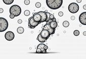 Time questions concept as a group of floating clocks and timepieces shaped as a question mark as a metaphor for deadline or business schedule confusion or corporate appointment information as a 3D illustration. poster