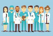 Hospital medical staff team doctors nurses surgeon vector flat Illustration of character doctor with stethoscope, reliable team of doctors poster