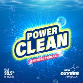 Laundry detergent package design. Toilet and bathroom tub cleanser. Washing machine soap powder vector packaging template. Power Clean with oxygen active substance poster