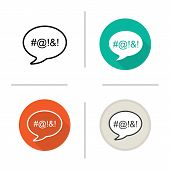 Dirty language icon. Flat design, linear and color styles. Chat bubble with censored swearing words. Cursing. Isolated vector illustrations poster