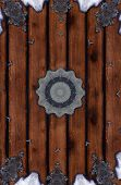 Abstract Design of what it looks like a wooden construction poster