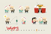 National Grandparents Day. Funny cartoon character elderly couple in love, grandparents. Doodle cute people isolated. poster