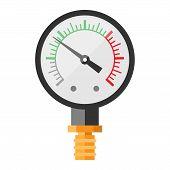 Pressure sensor manometer tool vector icon or pressure sensor on factory pipeline. Circle pressure temperature manometer sensor control for industrial. Water manometer pressure poster