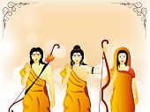 Hindu Lord Shri Rama with his wife Mata Sita and brother Laxman on shiny background for Indian Festival, Happy Dussehra celebration. poster