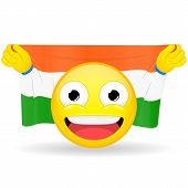 Emoji fan holds in hands flag behind his head. Indian flag. Fan cares for his country. Glory spectator bawl emotion. Exult emoticon. Buff of sports games smile illustration. poster