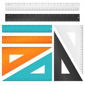 Rulers and triangle with inches, centimeters and millimeters scale. Tool education, measurement instrument set. Vector illustration poster