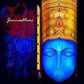 easy to edit vector illustration of Happy Krishna Janmashtami background poster