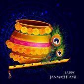 easy to edit vector illustration of Happy Krishna Janmashtami Dahi Handi meaning cream and pot background poster