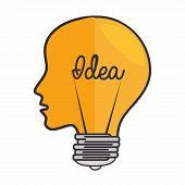 brain head think idea light electricity power intellect creative genius vector illustration isolated poster