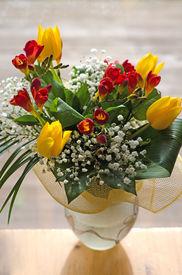 Spring Flowers Bouquet In Handmade Vase