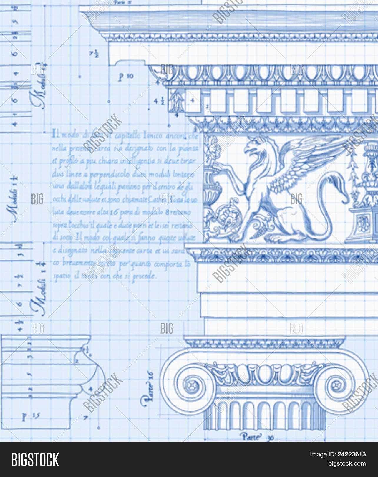 Blueprint hand draw vector photo free trial bigstock blueprint hand draw sketch ionic architectural order based the five orders of architecture malvernweather Image collections