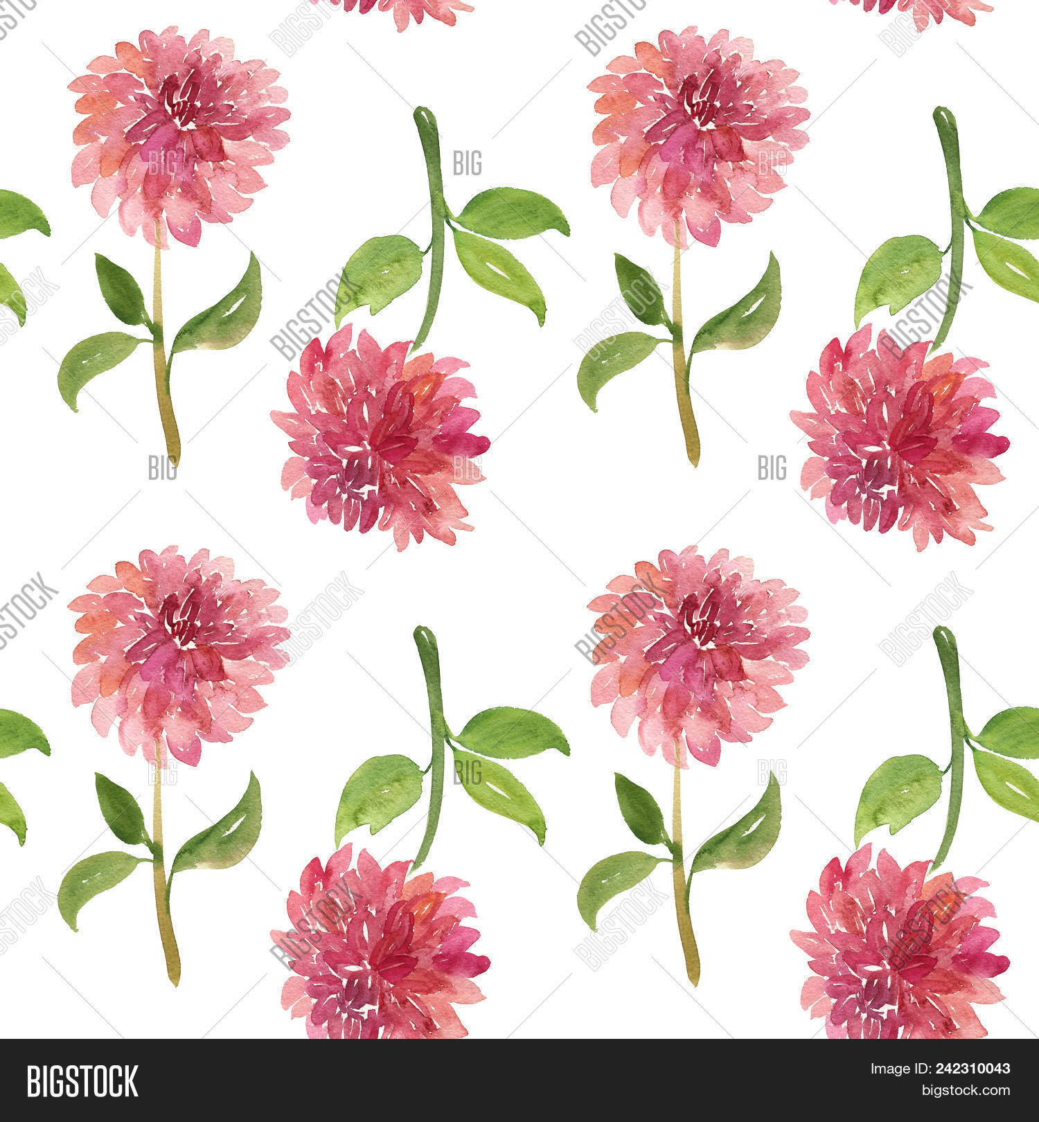 Seamless pattern red image photo free trial bigstock seamless pattern of red watercolor dahlia flowers with stems and leaves on white background red izmirmasajfo