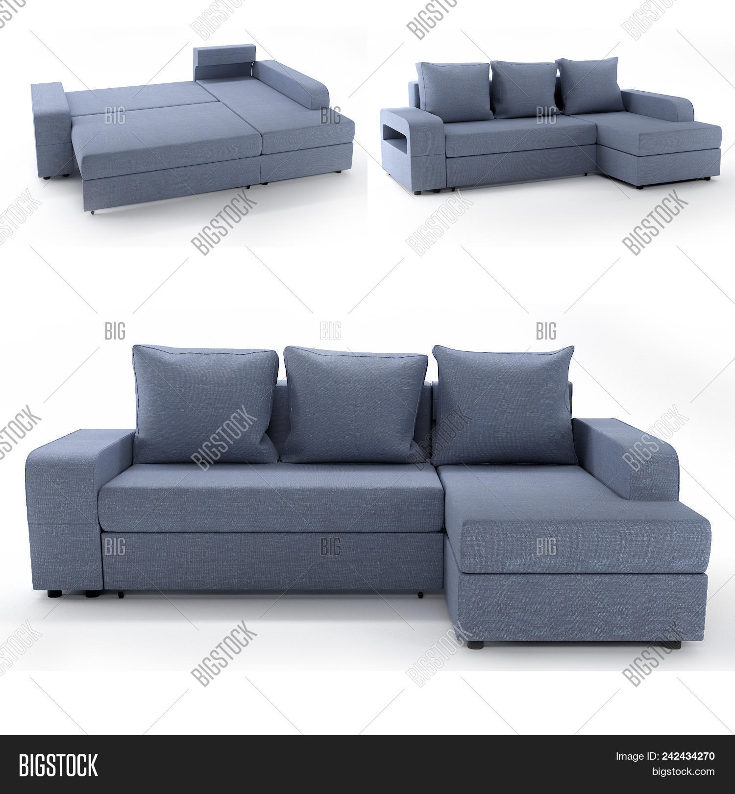Modern sofa of simple shape a budget option in upholstered furniture use for minimalistic