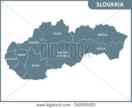 The Detailed Map Of Slovakia With Regions Or States. Administrative Division
