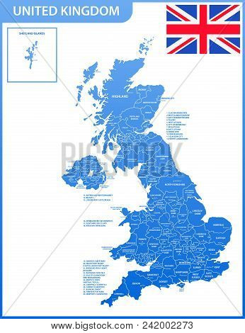 The Detailed Map Of The United Kingdom With Regions Or States And Cities, Capitals. Actual Current R