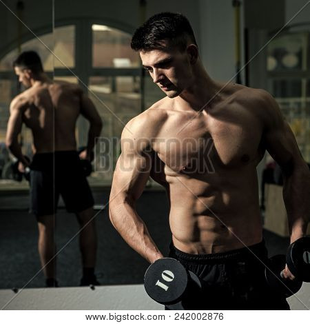 Male Face. Issues Affecting Boy. Sportsman, Athlete With Muscles Looks Attractive. Man With Torso, M