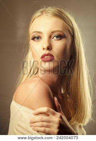Women Face Skin Care. Portrait Women Face In Your Advertisnent. Skincare, Make Up, Visage. Woman Wit