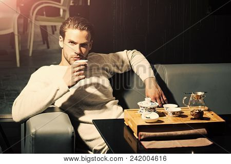 Fashion Model Man Fece Close Up. Face Man Wiht Happy Emetion. Tea Party, Ceremony, Time. Man Drink T
