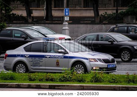 Moscow, Russia - May, 19, 2018: image of a  police car