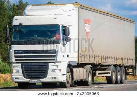 Moscow region, Russia - May, 23, 2018: truck on a highway in Moscow region