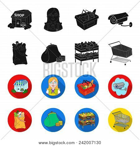 Sausages, Fruit, Cart .supermarket Set Collection Icons In Black, Flet Style Vector Symbol Stock Ill