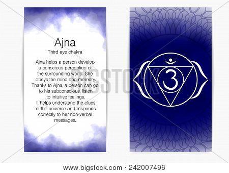 Sixth, Third Eye Chakra - Ajna. Illustration Of One Of The Seven Chakras. The Symbol Of Hinduism, Bu