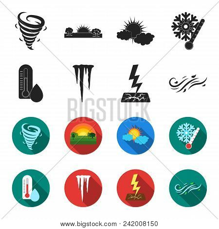 Humidity, Icicles, Thunderbolt, Windy Weather. Weather Set Collection Icons In Black, Flet Style Vec