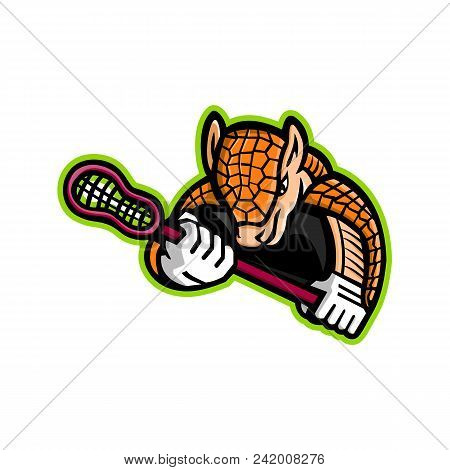 Mascot Icon Illustration Of An Armadillo, A Placental Mammal In The Order Cingulata With A Leathery