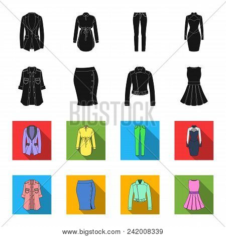 Women Clothing Black, Flet Icons In Set Collection For Design.clothing Varieties And Accessories Vec