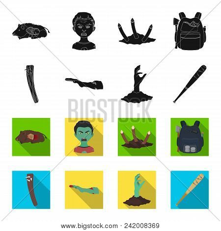 Zombies And Attributes Black, Flet Icons In Set Collection For Design. Dead Man Vector Symbol Stock