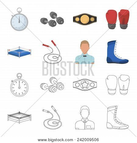Ring, Rope, Referee, Sneakers Boxing Set Collection Icons In Cartoon, Outline Style Vector Symbol St