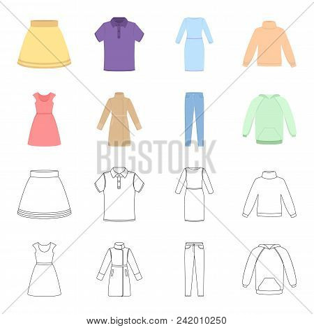 Dress With Short Sleeves, Trousers, Coats, Raglan.clothing Set Collection Icons In Cartoon, Outline