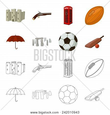 Umbrella, Stone, Ball, Cricket .england Country Set Collection Icons In Cartoon, Outline Style Vecto