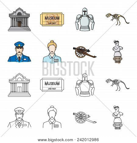 Guard, Guide, Statue, Gun. Museum Set Collection Icons In Cartoon, Outline Style Vector Symbol Stock