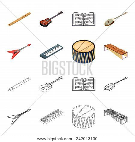 Musical Instrument Cartoon, Outline Icons In Set Collection For Design. String And Wind Instrument I