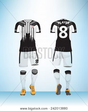 Soccer Jersey Or Football T-shirt Mock Up. Front And Back View Black And White Uniform. Vector Illus