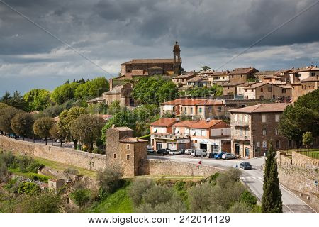 view on traditional medieval town of Montalcino, Tuscany, Italy