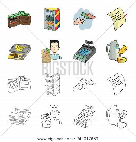 Package, Scales, Banana, Fruit .supermarket Set Collection Icons In Cartoon, Outline Style Vector Sy