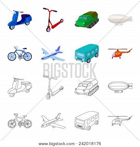 Bicycle, Airplane, Bus, Helicopter Types Of Transport. Transport Set Collection Icons In Cartoon, Ou