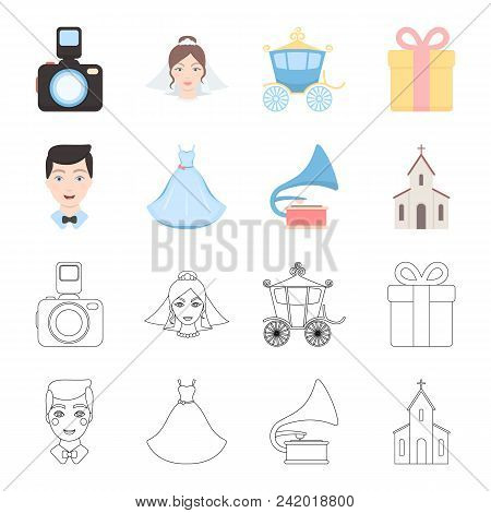 Wedding Dress, Groom, Gramophone, Church. Wedding Set Collection Icons In Cartoon, Outline Style Vec