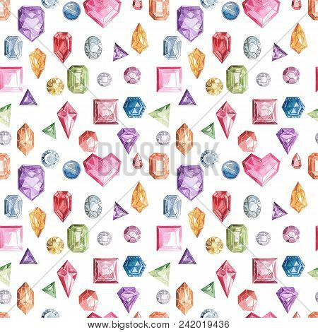 Blue, Green And Violet Diamond Crystals. Seamless Pattern. Watercolor Pattern. Isolated On White Bac