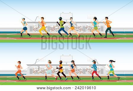 Handicapped Sprinter With Prosthetic Leg Running On Race Track, Sport And Competition Vector Illustr
