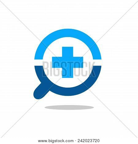Magnify Glass And Cross Logo Symbol, Positive Or Medical Symbol With Magnifying Glass Icon