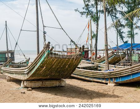 Basic Fishing Boats Made From Bamboo At Sam Son Beach In Thanh Hoa Province, Vietnam