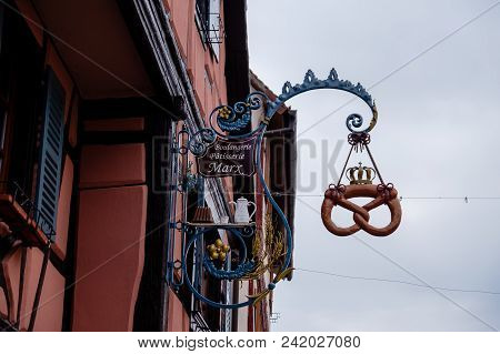 Riquewihr, France - April 27, 2017 : Ornate Sign Of Shop In The Touristic Region Of Alsace .