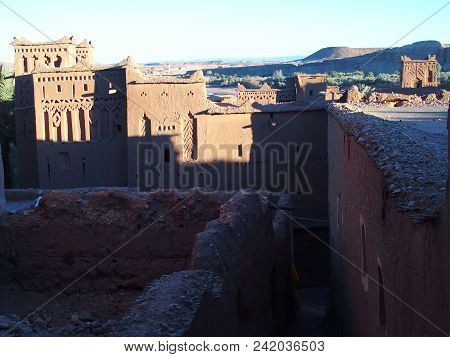 Scenery Of Kasbah Ait Ben Haddou Or Benhaddou Fortified City With Evening Sun Light On Walls, Africa