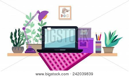 Work Table With Computer, Working Space, Study Room Interior. Funny Flat Cartoon Style. Workplace Co