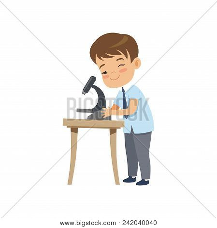 Cute Boy Using Microscope At Lesson, Pupil In School Uniform Studying At School Vector Illustration